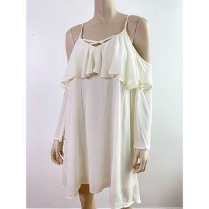 Entro Ivory Ruffle Cold Shoulder Shift Dress NWT